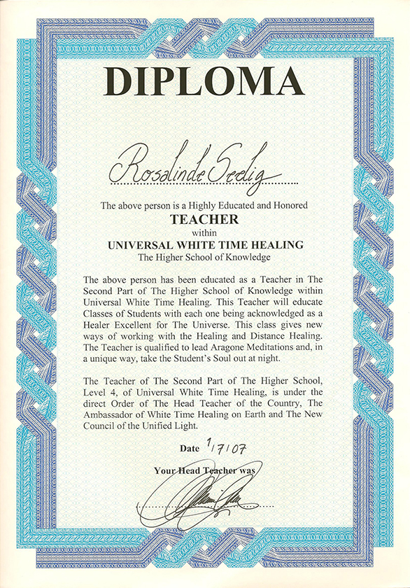 White Time Leraar Level IV diploma
