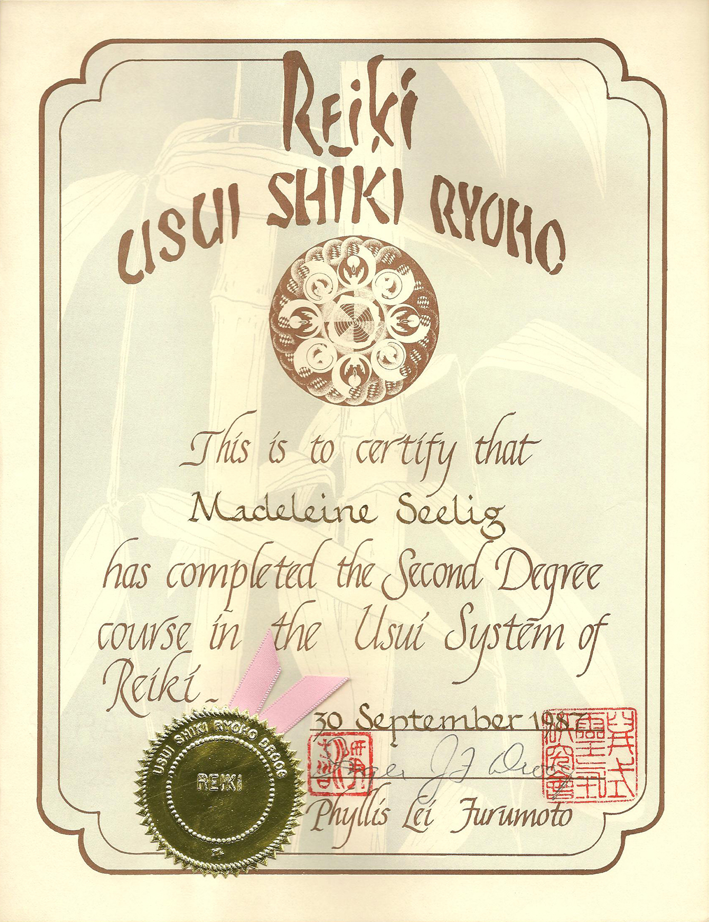 Reiki II certifikaat 30-9-1987 kleiner