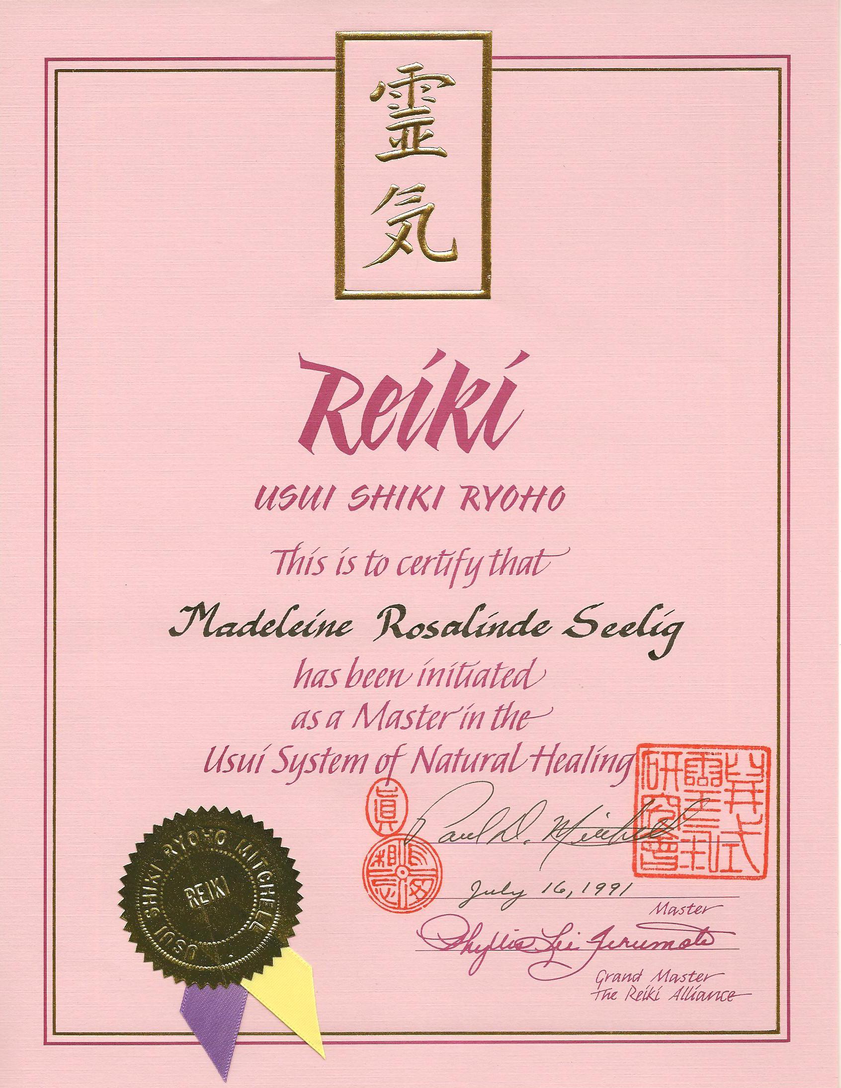 Reiki Master certifikaat 16-7-1991